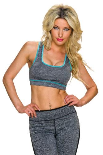 Sport Crop Top BH Fitness Shirt bauchfrei Work out Yoga Jogging Damen S 34 36
