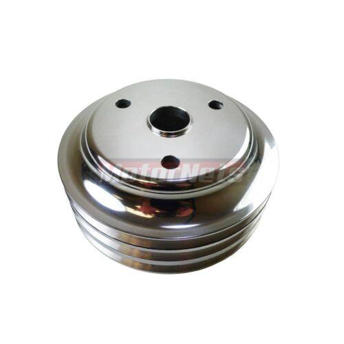 SBC Chevy Polish Aluminum Crankshaft Pulley 3 Groove LWP Long Water Pump SBC 350