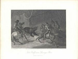"1874 engraving ""Native Californians Lassoing a Bear"""