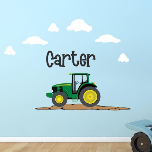 e06 Nombre Personalizado Tractor Pared Calcomanía Mural Habitación Dormitorio Personalizado Granja Niños