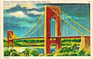 Vintage Postcard - Linen - George Washington Bridge At Night NEW YORK CITY #1872