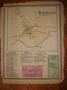 ANTIQUE 1869 WEST & BURLINGTON BRADFORD COUNTY PENNSYLVANIA HANDCOORED MAP