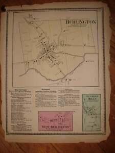 ANTIQUE 1869 WEST & BURLINGTON BRADFORD COUNTY PENNSYLVANIA HANDCOORED MAP