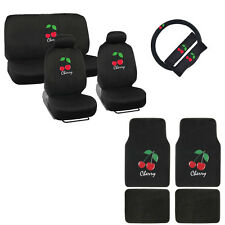 New Red Cherry Car Front Rear Seat Covers Steering Wheel Cover Floor Mats Set