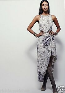 464a926cbfa Details about NEW Free People muted gray lavender drapy hi lo Strappy Back Wrap  Maxi Dress 8