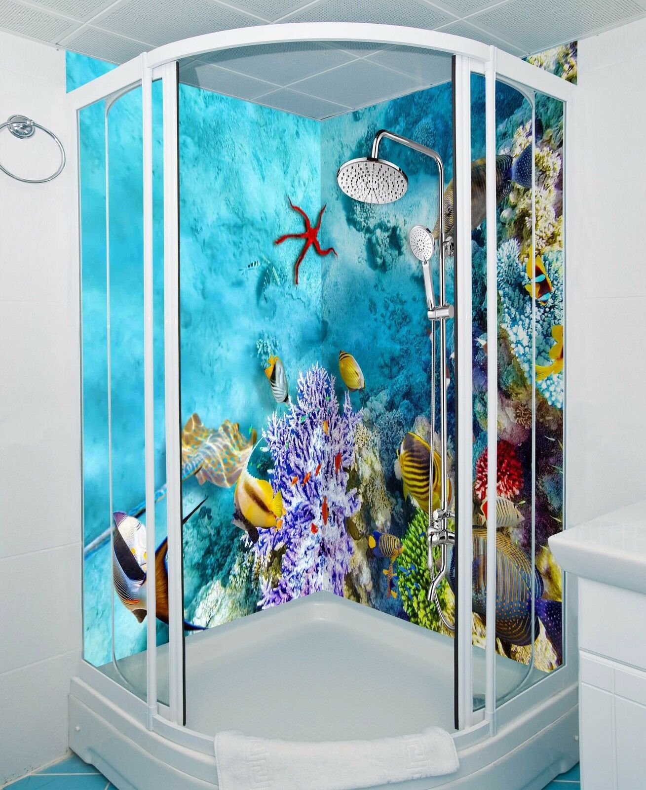 3D Blau sea fish 596 WallPaper Bathroom Print Decal Wall Deco AJ WALLPAPER UK