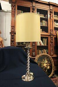 Lampada Da Comodino Argento.Elegante Lampada Da Tavolo Base Argento 925