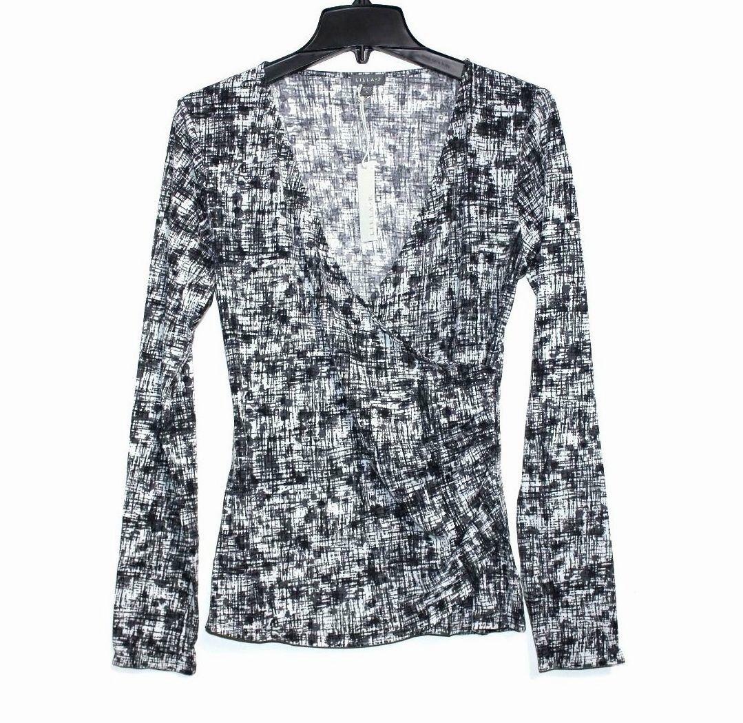 Lilla P Womens S Charcoal, B&W Cross-Hatch Long Sleeve Surplice Knit Top
