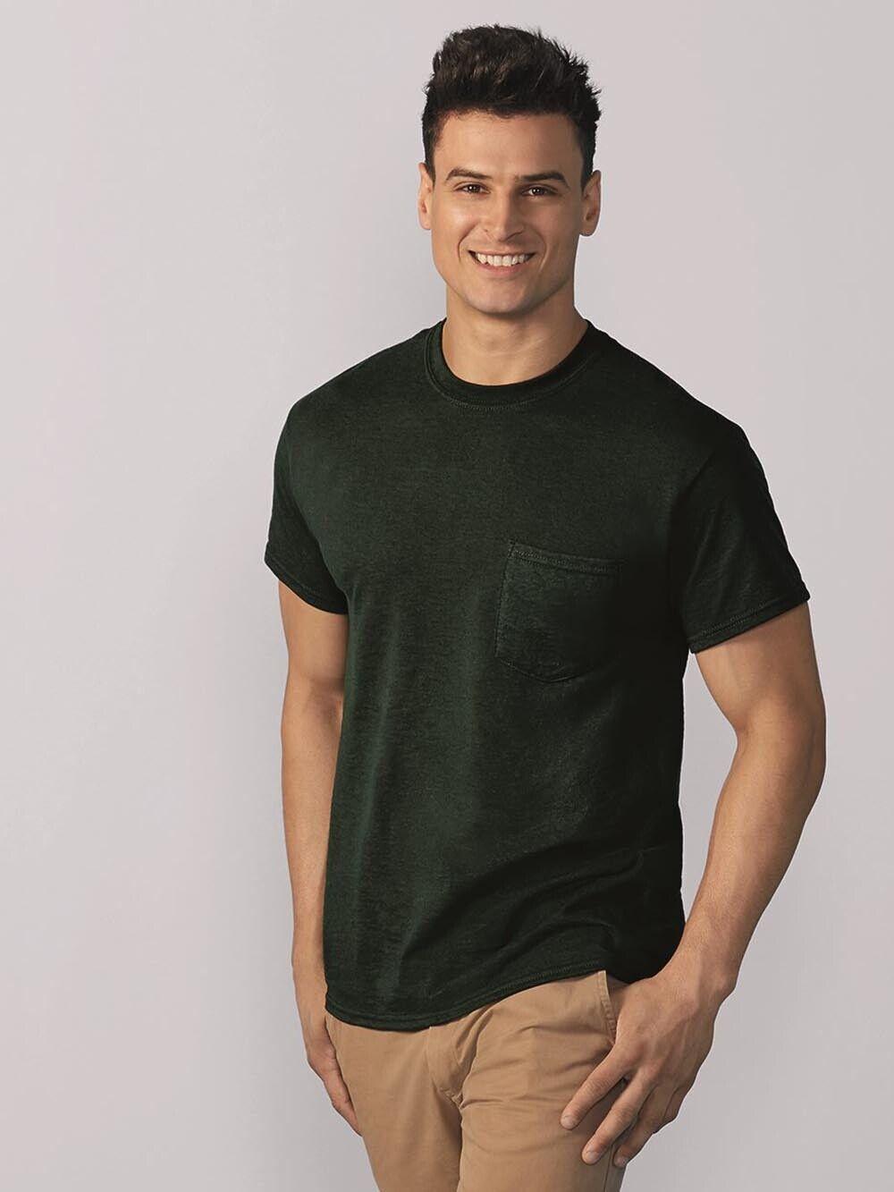 Pack12 Gildan Men/'s DryBlend 50 Cotton//50 DryBlend Poly Pocket T-Shirt 8300