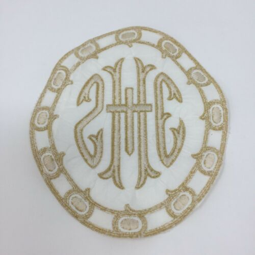 IHS Latin Cross Emblem Gold on White Cotton Vestment Altar 2 Pc.