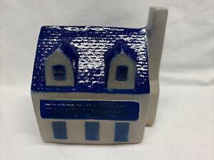 Eldreth-Vintage-Pottery-Ceramic-Salt-Glazed-House-Coin-Bank-Cobalt-Blue-Gray