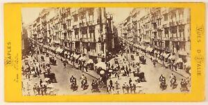 Napoli-Rue-Toledo-Italia-Foto-Stereo-PL55L3n-Vintage-Albumina-c1865