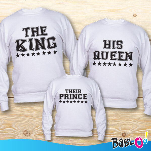 Tris Di Felpe Adulto Bambino Linea Family  The King The Queen Prince  Bianche