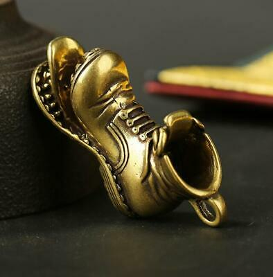 Rare Chinese bronze handmade crocodile shoes Statue figure netsuke pendant