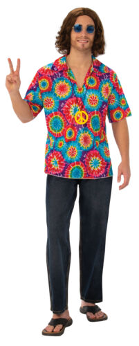 Adult Flower Power 60s 70s 1960s Hippy Hippie Fancy Dress Shirt Necklace Mens