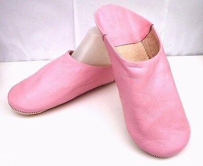 Affidabile Molto Morbido 100% In Pelle Pantofole/ciabatte * Rosa-mostra Il Titolo Originale