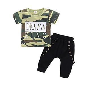 2d8745f052fe Details about UK Kids Baby Boy Newborn Outfit Sets Summer Clothes Short  Sleeve 2PCS Tops+Pants