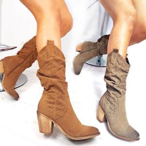 womens ladies mid calf boots spring summer cowboy boots. Black Bedroom Furniture Sets. Home Design Ideas