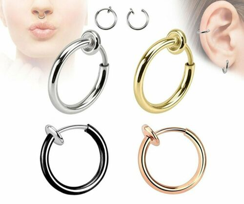 Retractable Earrings No Need Piercing Men Women Classic Hip-hop Style Hoop UK