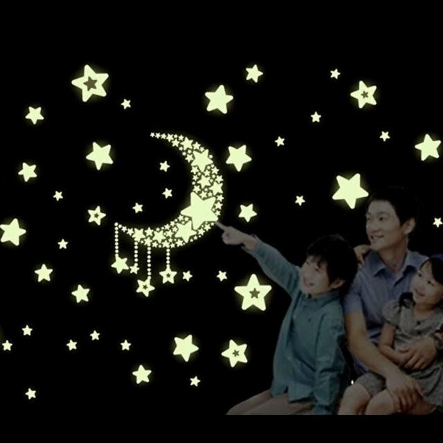 Glow Wall Stickers Luminescent Moon Stars Home Bedroom Decor Fashion Style