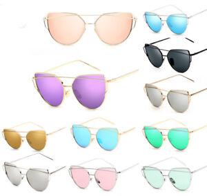 Femmes-Lunettes-de-soleil-Metal-Frame-Mirrored-Sunglasses-Cat-Eye-Retro-Eyewear