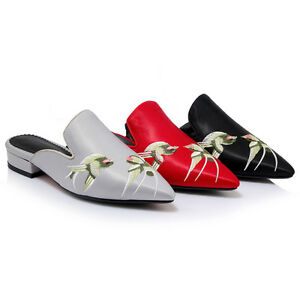 Women-039-s-Mules-Swallows-Pattern-Pointed-Shoes-Sandals-Black-Red-Grey-AU-Size-S028