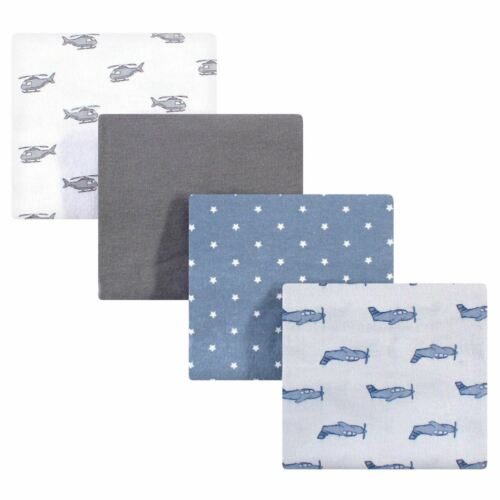 Hudson Baby Cotton Flannel Receiving Blankets Airplanes  Helicopters One Size