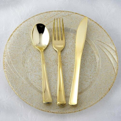 24 pcs Plastic Gold FORKS SPOONS KNIVES SET Disposable TABLEWARE Wedding Party