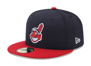 New Era 59Fifty MLB Cap Cleveland Indians 2017 On Field Fitted Home Hat - Navy