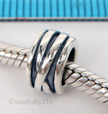 1x OXIDIZED STERLING SILVER EUROPEAN WAVE ROUND TUBE BEAD BRACELET CHARM #1563