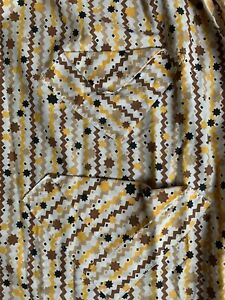 Vintage Half Apron Stars Geometric Mustard Black White Brown L Long Mid Century