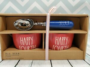 NEW-2020-Rae-Dunn-034-HAPPY-FOURTH-034-OF-JULY-Ice-Cream-Bowls-and-Scoop-Set