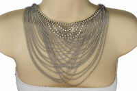 Women Silver Metal Necklace Wide Chain Waves Neck Strand Fashion Jewelry Earring