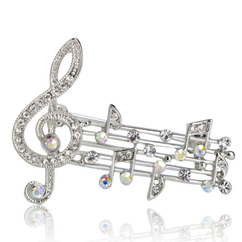 Charms Music Note Brooches White Gold Plated Crystal Brooch Pin Lady Party Gift