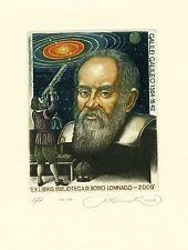 Galileo Galilei, Biblioteca Di Bodio Lomnago, Italy, Ex libris by S. Kirnitskiy