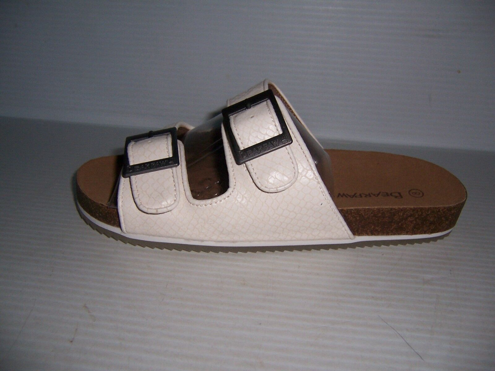 Bearpaw Brooklyn White Snake 8 Women's Microsuede Slides Sandals Size 8 Snake NEW cac3fc