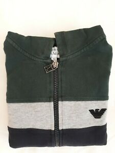 Armani-Junior-Boys-Multicolor-Hooded-Long-Sleeve-Sweatshirt-With-Zipper-Size-10
