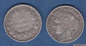 5 Francos 1870 K Burdeos MB MUY BUEN ESTADO Cérès sin texto M Gvt de Def