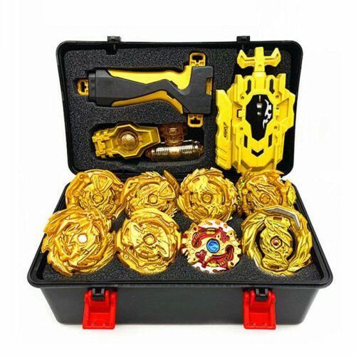 8pcs Golden Beyblade Gyro Burst With Launcher Portable Storage Box Kid Xmas Gift
