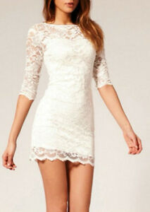 64d8acda19861 Boohoo Nina Scallop Detail Open Back Lace Bodycon Dress Ivory UK 6 ...
