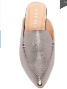 ESPRIT Women's Pointed Toe Shoes Flat Mules Silver Faux Leather US Size 6.5, 7.5