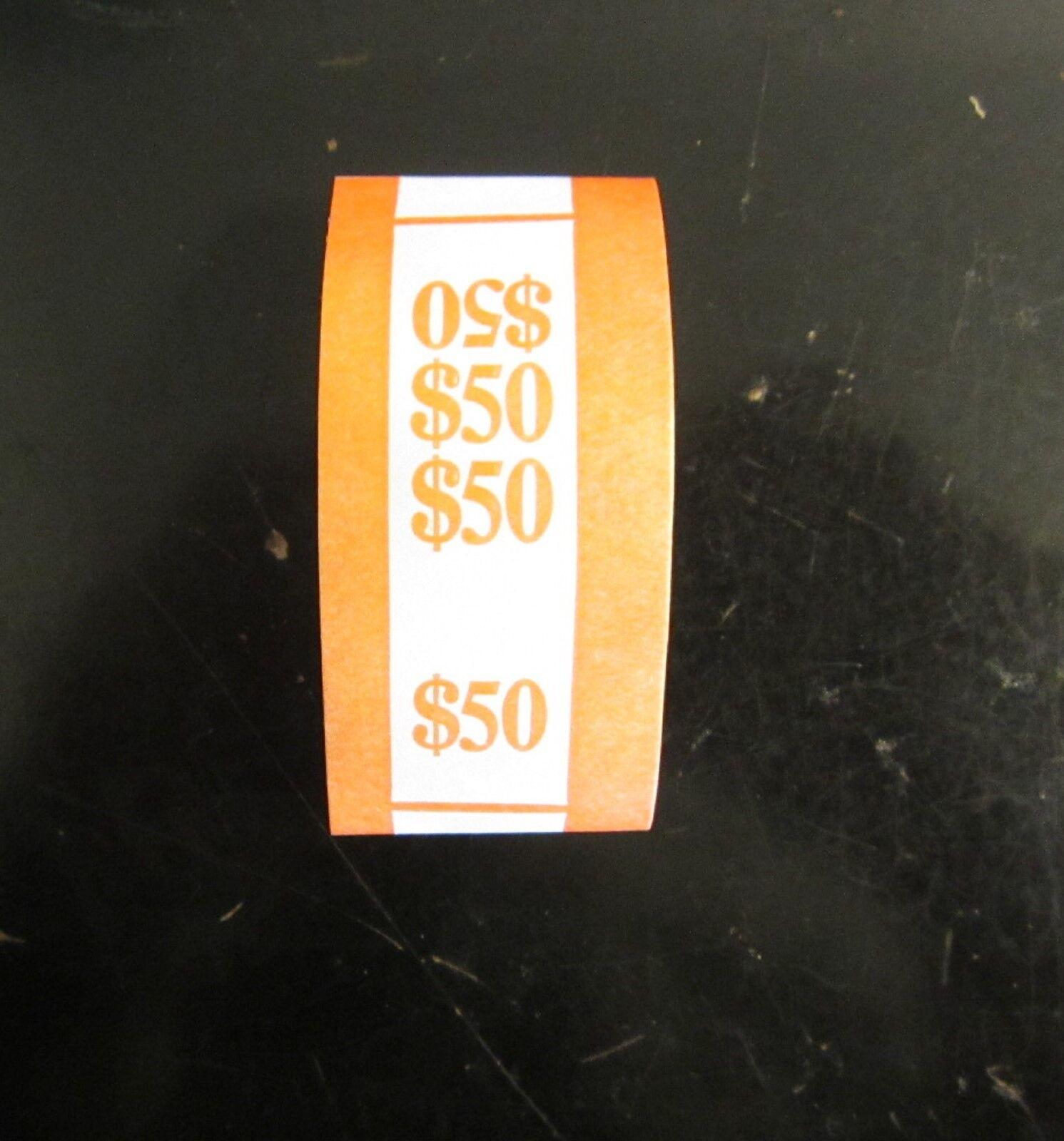 500 SELF SEALING ORANGE $50 CURRENCY STRAPS MONEY BILL BANDS $50 PMC BRAND STRAP