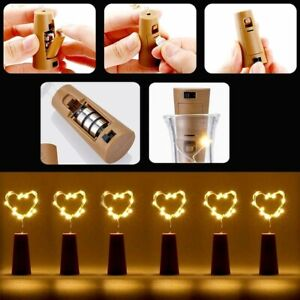 20 LED Bottle Fairy String Lights Battery Cork Shaped Christmas Wedding Party BH