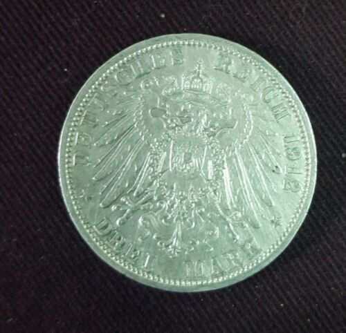 1912A  16.667 g 33 mm GERMANY SILVER COIN  3 MARK
