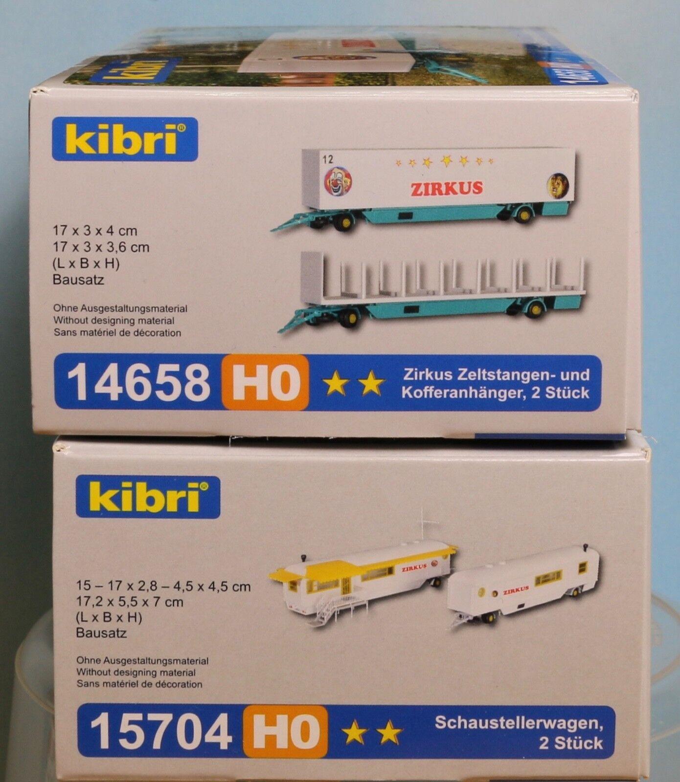 Kibri 14658, 15704, Spur H0, Bausatz (Kunststoff)  Inges. 4 Zirkus-  Kirmeswagen  | Deutsche Outlets