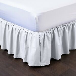 """1 WHITE SOLID DRESSING BED SKIRT PLEATED WITH OPEN CORNERS 14"""" INCH DROP NEW"""