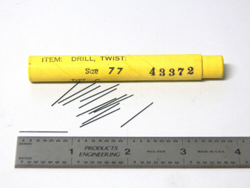 Micro Drill Bits Pin Vice Drill Bits .0180 12 New Morse Cutting Tools #77