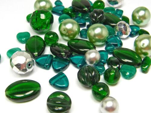 Mix GLITZERWALD silber; *2789 grün 50 g Böhmische Glasperlen