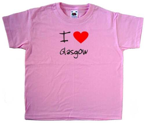 I Love Cuore Rosa Glasgow KIDS T-SHIRT
