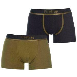 2-x-Firetrap-Boxer-Pantaloncini-da-uomo-BAULI-Qualita-Biancheria-Intima-M-L-XL-Verde-Oliva-Nero-T333
